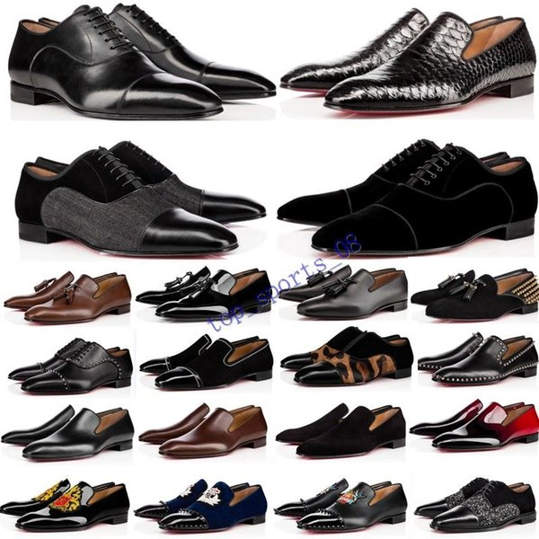 best selling NEW designer mens shoes loafers black red spike Patent Leather Slip On Dress Wedding flats bottoms Shoe for Business Party size 39-47
