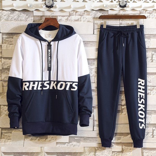 Spring Autumn 2pcs Mens Tracksuit Track Suits Casual Full Long Sleeves Letter Hooded Tracksuit + Pant Men's Sets