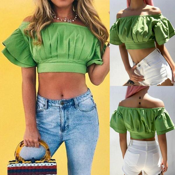 Verão das mulheres Off-ombro Bell Sleeve Shirt Solto Blusa Casual Tops Camisa