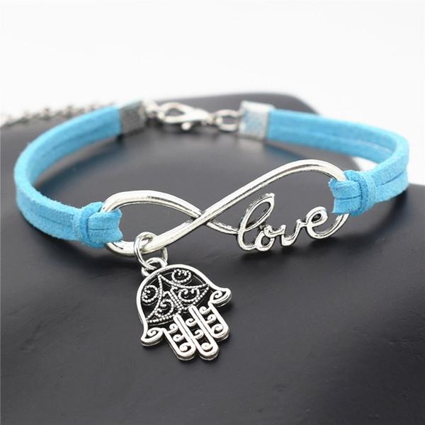 Hot Infinity Amour Hamsa Symbole Evil Eye Fatima Main Palm Bracelet Bracelets Nouvelle Conception Vintage Style Bleu En Daim En Cuir Femmes Hommes Bijoux