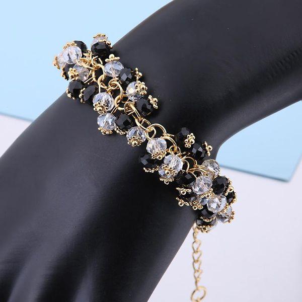 Kadınlar Takı Bijoux Hediyesi 18-22cm Ücretsiz Nakliye için Moda Altın Kaplama Siyah Beyaz Kristal Ipliklerini Bilezikler El yapımı Dostluk Bilezik