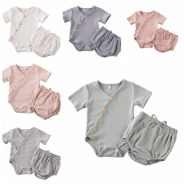 best selling Kids Designer Clothes Girls Article Pit Clothing Sets Baby Striped Cotton Rompers PP Pants Suits Solid Jumpsuit Shorts Briefs Bloomers B7548