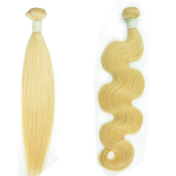 Body Wave European Hair Bundle 12-30inch Shedding Free Tangle Cheap Bleaching 613 Blond Remy Human Hair Weaves Sample for Ladies Girls 1Pc