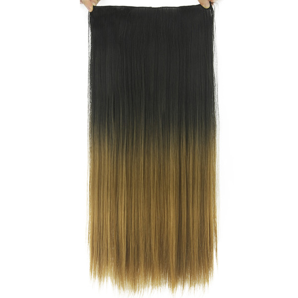 Long Straight Ombre Hair High Tempreture Fiber Synthetic Hair Pad Clip In Hair Extensions 20 Colors 24'' Black To Gray