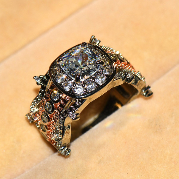 Cute Female Crystal Zircon Ring 925 Silver Big Stone Finger Ring Vintage Wedding Rings For Women 2019 New Year Gifts Jewelry