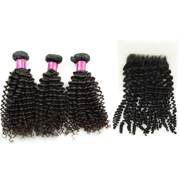 Kinky curly Cambodian Mongolian Hair Weaving with 4x4 lace top Closure Jerry Curl Virgin Vietnamese Chinese Human Hair 3 Bundles Dyeable