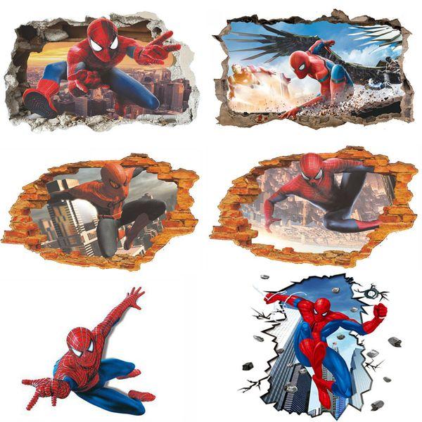 Adesivi murali Decorazioni murali per la casa Adesivi 3D Spiderman Camera dei bambini Decorazioni per camera da letto Marvel DIY Poster Carta da parati Adesivi murali