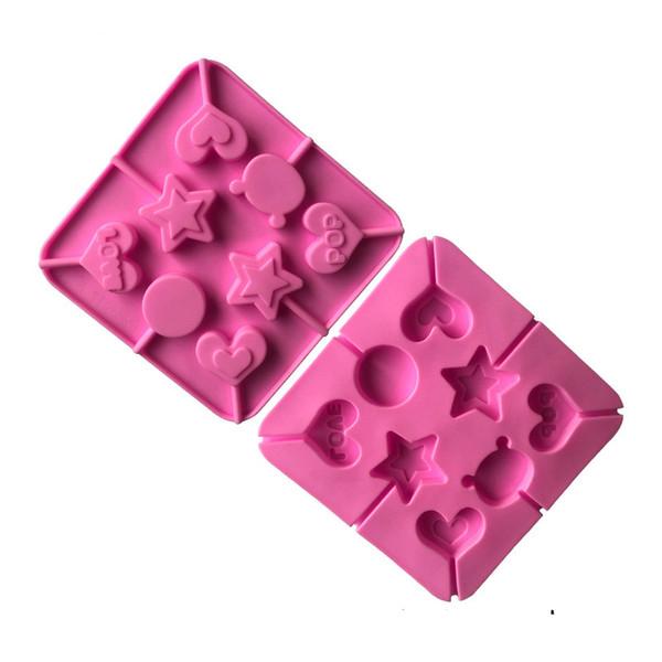 Çikolata Pişirme Araçları Silikon Formu Şeker Jelly Sabun Kalıplar Silikon Lolipop Kalıp 3D Yıldız Pasta Süsleme Araçlar Kalp Şeklinde