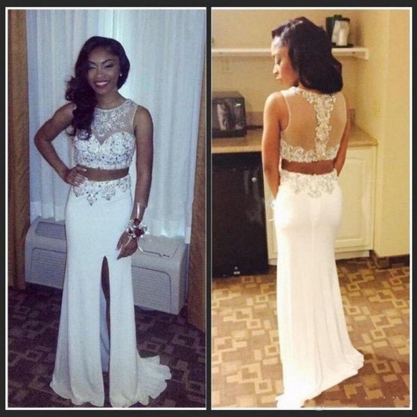 Elegant African Two Pieces Prom Dresses O-Neck Beading Patterns Side Slit White Chiffon Formal Party Gowns Split Evening Dress