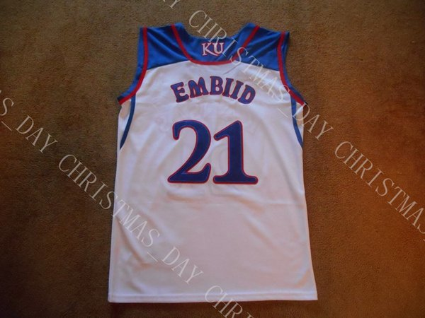 Cheap custom Mens Joel Embiid #21 Kansas Jayhawks STITCH White College Basketball Jersey Custom any player for any name Embroidery jerseys