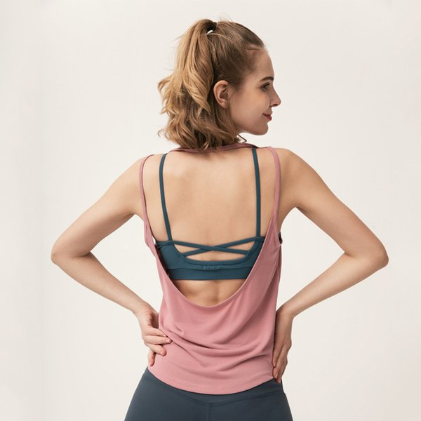 2019 summer new solid color U-shaped backless yoga clothes slings ladies sports fitness jogging sports bottoming vest