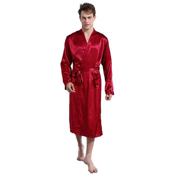 Erkek bornoz Yaz Pijama Erkekler Simülasyon Ipek Banyo Elbiseler bata adam Uzun Kollu Ev Ince erkek Pijama pijama homme 2019