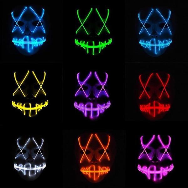 LED Işık Maske Komik Cadılar Bayramı Korkunç Led Maske Cosplay EL Tel Led Kostüm Araçları Parti Işık Up Maskesi TTA1462