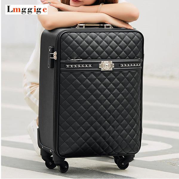 Yeni kadın yüksek kaliteli PU Deri Haddeleme Bagaj Kutusu Evrensel tekerlek Bavul Çanta 16
