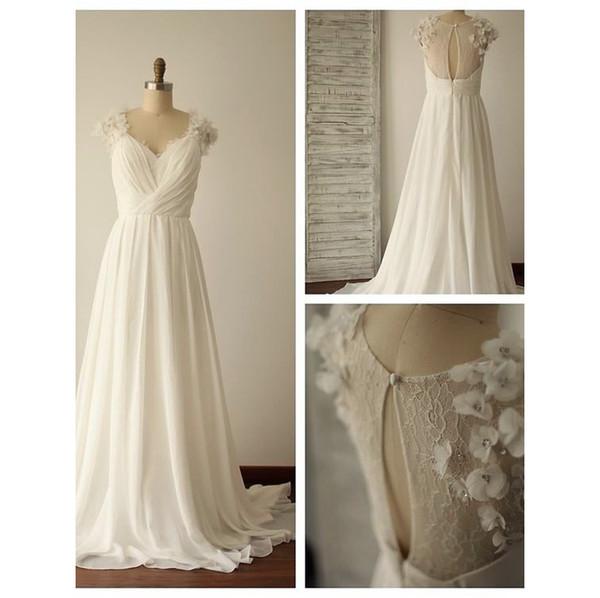 Discount Romantic V Neck A Line Chiffon Floral Wedding Dresses