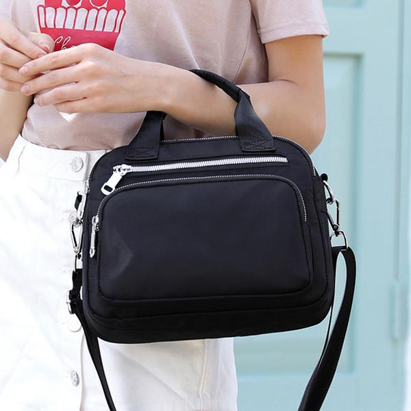 Kadınların çanta büyük kapasiteli düz renk diyagonal taşınabilir naylon moda hafif çok kat taşınabilir diyagonal paket