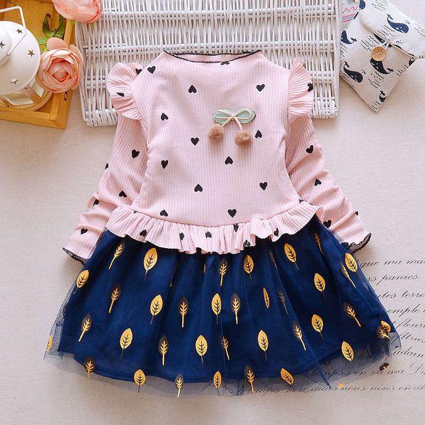 good quality 2019 Baby Girl Dress Spring Autumn Newborn Princess Dress Long Sleeve Brand Girl Dress Heart Leave Mesh Girls Clothes