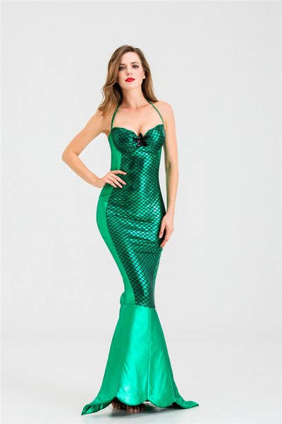 Designer Western Halloween Mermaid Tail Costume Cosplay Clothing Sexy Style Sleeveless Sequined Dresses Masquerade Dress S-XXL Wholesale