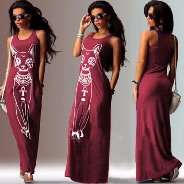 Partido de vestir ropa de mujer Ropa de diseño Impresión del gato del vestido maxi de Boho Beach ajustado de los vestidos de noche Vestidos Vintage Vestidos Mujer