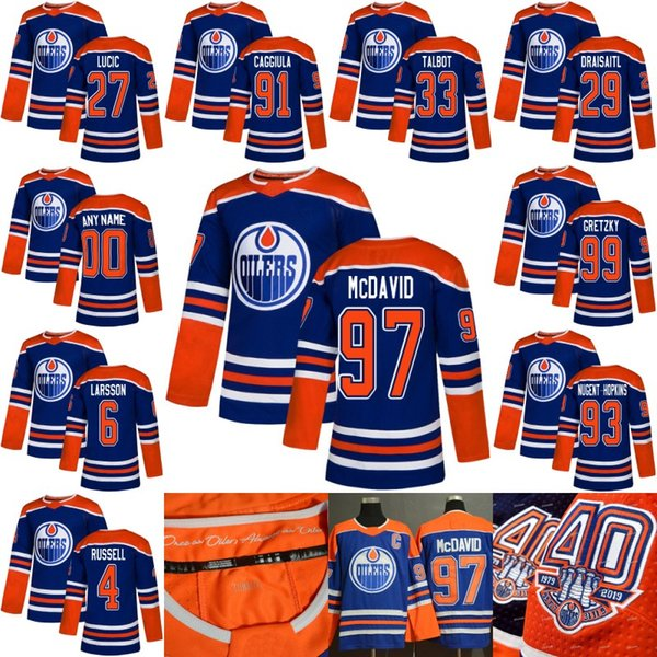 073a26f5bbd With 40th Anniversary 1979-2019 Patch Edmonton Oilers Retro Jersey Connor  McDavid Ryan Nugent-Hopkins Leon Draisaitl Milan Lucic Talbot