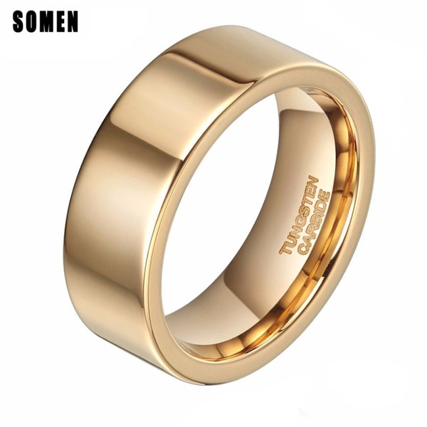 ashion Jewelry Rings 8mm Luxury Gold Tungsten Carbide Ring Polished For Women Wedding Bands Men's Engagement Rings Fashion Jewelry Anti-S...