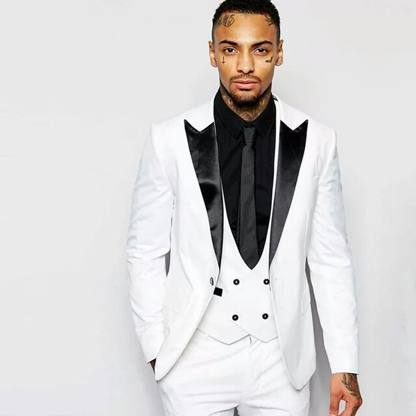 White Men Suits for Wedding Slim Fit Groom Wedding Tuxedo 3Pieces Coat Pants Vest Black Peaked Laple Costume Homme Best Men Blazer Jacket