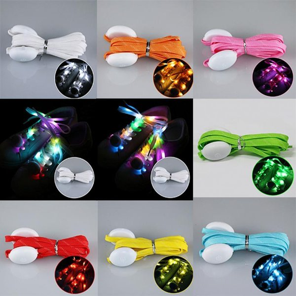 Flashing LED Lighted Up Shoelaces Luminous Flashing Shoes Laces Disco Party colorful types outdoor creative sports Strap QQA207
