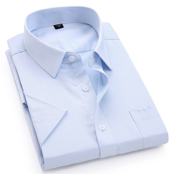 Camisa de manga corta de los hombres vestido ocasional Twill Blanco Azul Rosa Negro Hombre Slim Fit camisa para hombres Camisas sociales 4xl 5xl 6xl 7xl 8xl MX190719