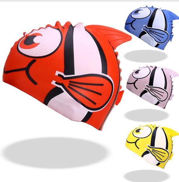 gato Miúdos bonitos cap silicone nadar piscina desenhos animados dos peixes tampas à prova d'água crianças chapéu de borracha protetores de ouvido tubarão meninos engraçados meninas chapéus animais