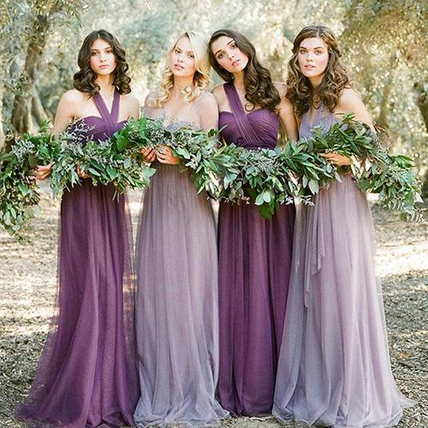Abiti da damigella d'onore viola Lunghi con maniche e abito da sposa senza spalline in stile Impero senza spalline