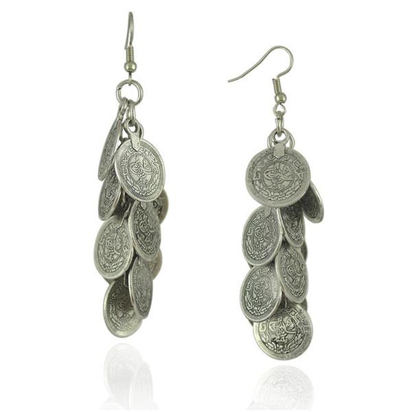 silver art bars for sale Bohemian Gypsy Zamac Vintage Tibetan Silver Cluster Coin Statement Dangle Earrings For Women