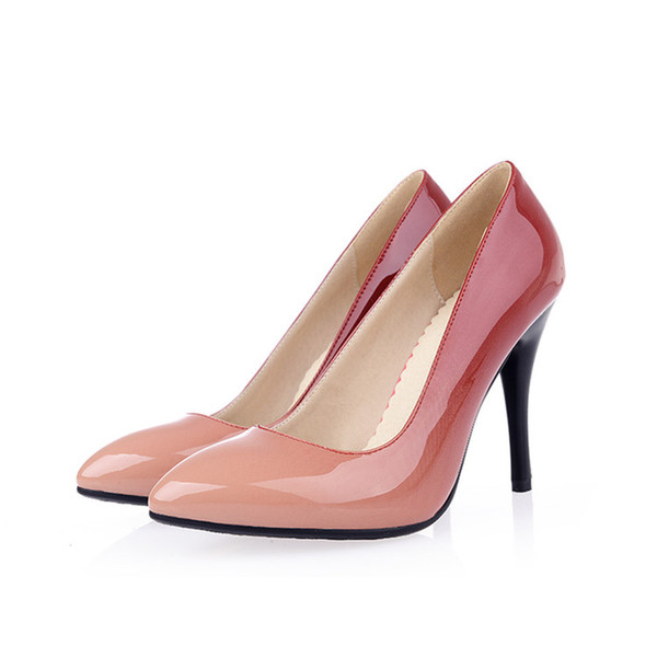 Hot Sale-2019 street style pointed patent leather shallow mouth shoes anti-skid rubber at the end of high-heeled ladies lazy shoes