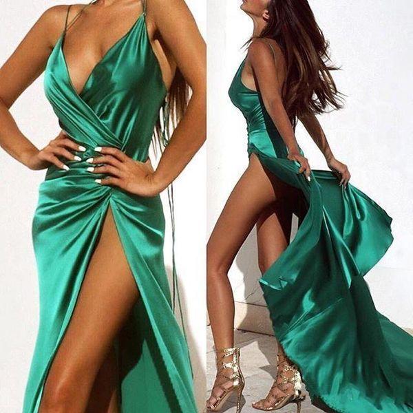 2019 новый темно-зеленый сексуальные платья выпускного вечера повод шеи полная длина высокая сторона сплит вечерние платья ну вечеринку платья на заказ