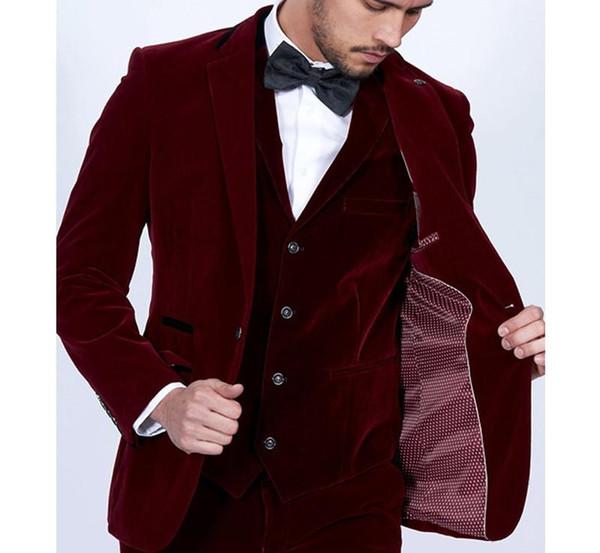 Custom Made Groom Tuxedos Burgundy Velvet Men Suits Slim Fit 3 Piece Blazer Tailor Made Wine Red Groom Prom Party Tuxedo(Jacket Pants Vest)