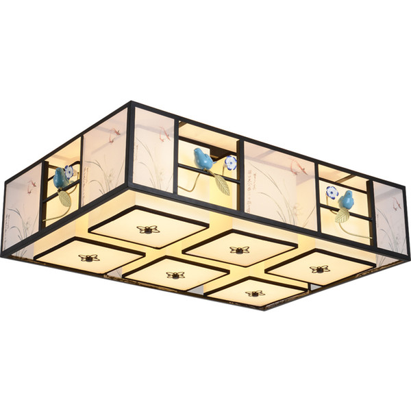 China rectangle LED ceiling lamp iron Bird 6/9 Heads Cloth light bedroom restaurant retro Suspension E27 Home Lighting G455