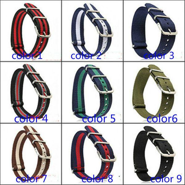 pulseiras de montanhismo tipo de enrolamento Pulseira Nato Nylon Strap para homens mulheres relógio de pulso de lona fivela pulseira azul preto 18 mm ...