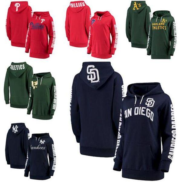 Diego Filadélfia Oakland York Mulheres Yankees Atletismo Phillies Padres G-III 4Her por Carl Banks Mulheres Extra Innings Pullover Hoodie
