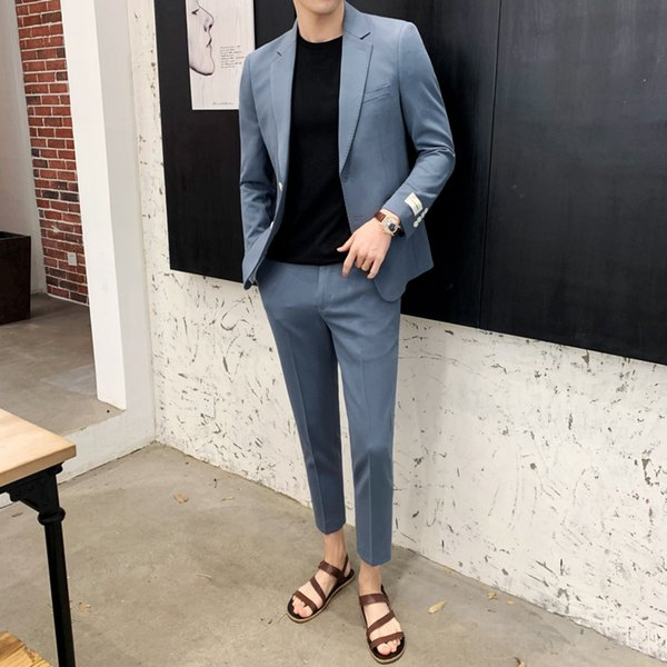 Men's suit 2019 four seasons suitable for the new solid color Slim personality fashion urban casual popular men's clothing
