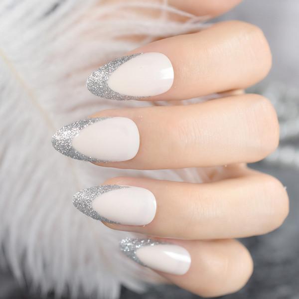24pcs Glitter Beige French Stiletto False Nail Light Natural Silver Glitter Nails DIY Nail Art Full Cover Acrylic Tip