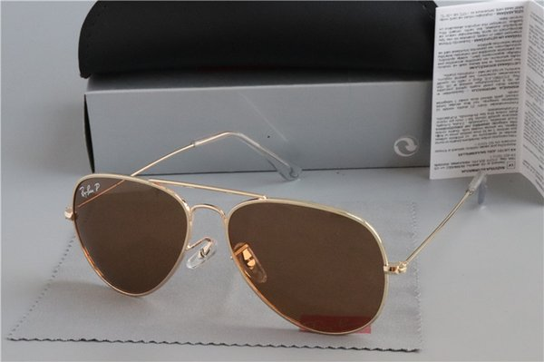 New Ray Fashion Sunglasses for Men Women metal frame Mirror polaroid Lenses driver bans 3025 Sun Glasses with brown cases and box