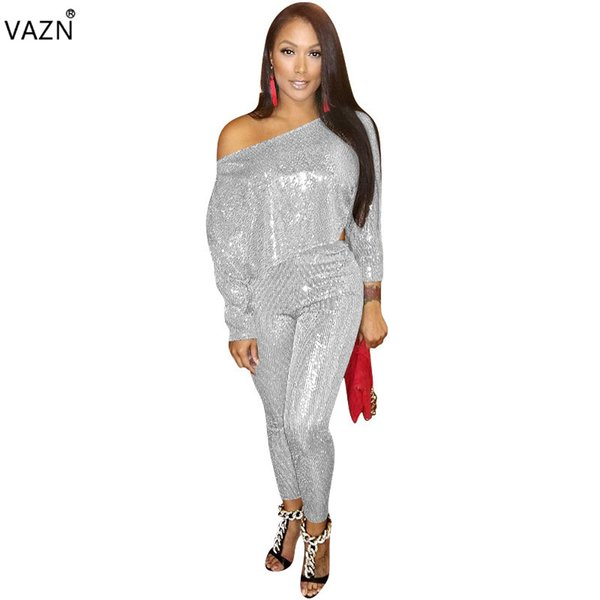 VAZN New Fashion 2019 Women 2-Pieces Solid Long Jumpsuits Sexy Lady Slash Neck Full Sleeve Top Full Length Pants Jumpsuits YZ717