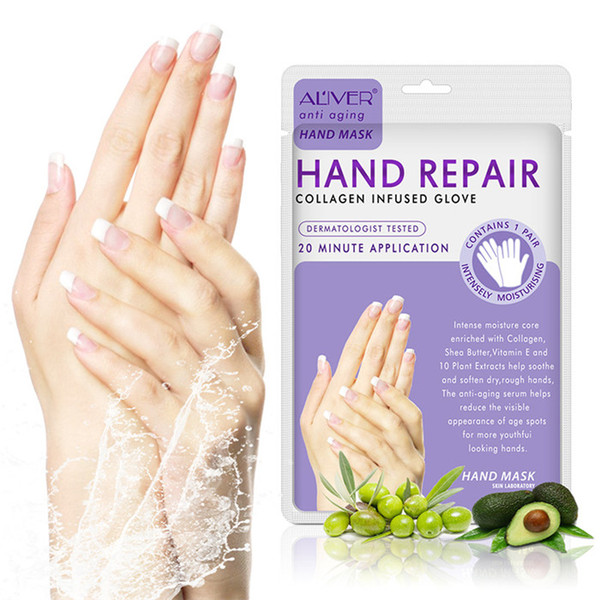 top popular ALIVER Moisturizing Soft Hand Mask 2pcs Pair Peeling Exfoliating Dead Skin Remover Smooth Hand Care Mask 2021