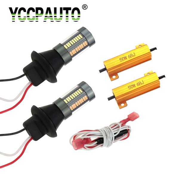2Pcs Dual Color 1156 Ba15s P21W W21W Py21W T20 LED Canbus Bulbs Auto DRL Turn Signal light No Flash White Yellow 4014 66 SMD 12V