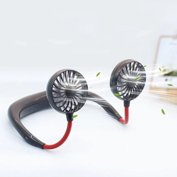 2000 mAre tragbarer USB-Lüfter Freisprech-Halsaufhängung USB-Ladestation Mini tragbarer Sport-Lüfter 3-Gang-USB-Klimaanlagenauto