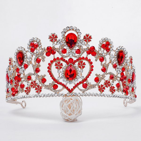 Moda Nupcial Gran Corona Rojo / Azul / Blanco Cristal Novia Coronas de Boda Tiaras Barroco Princesa Accesorios Para el Cabello Mujeres Tocados