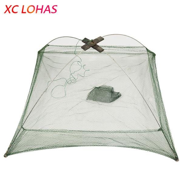 60x60cm 80x80cm 100x100cm Square Fishing Landing Net Trap Network for Catching Shrimp Crab Small Fishes Fishing Tool