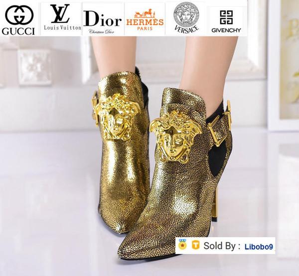 Ouro Botas femininas Libobo9 salto alto sandálias botas de montaria Chuva Boot Botas Botas Sneakers Dress Shoes