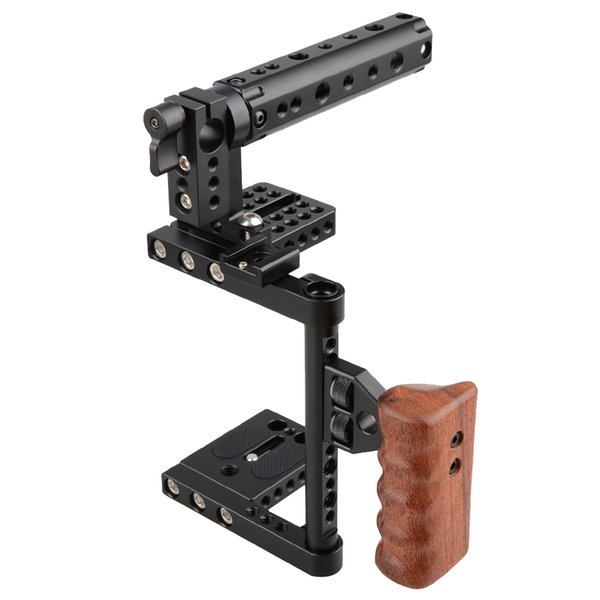 Freeshipping DSLR Camera Steadicm Cage Top Handle Wood Grip for Canon Nikon Sony Panasonnic Best Stabilizer For DSLR Photo Studio Kit C1175
