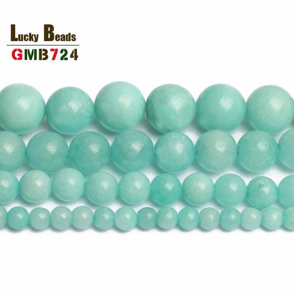 "round beads wholesale 4 6 8 10 12mm Natural Blue Amazonite Round Beads 15"" Free Shipping-F00085"