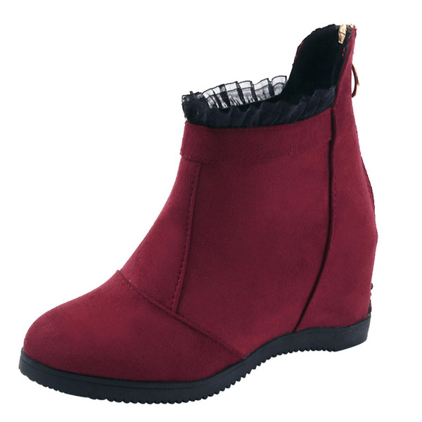 MUQGEW Winter Women Lace Wedges Flock Round Toe Zipper Boots Keep Warm Snow Shoes Sexy Ankle Womens Boots #1203
